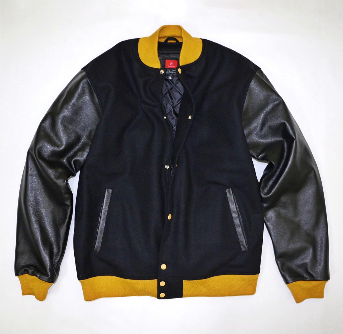 Custom Black Leather Varsity Jackets