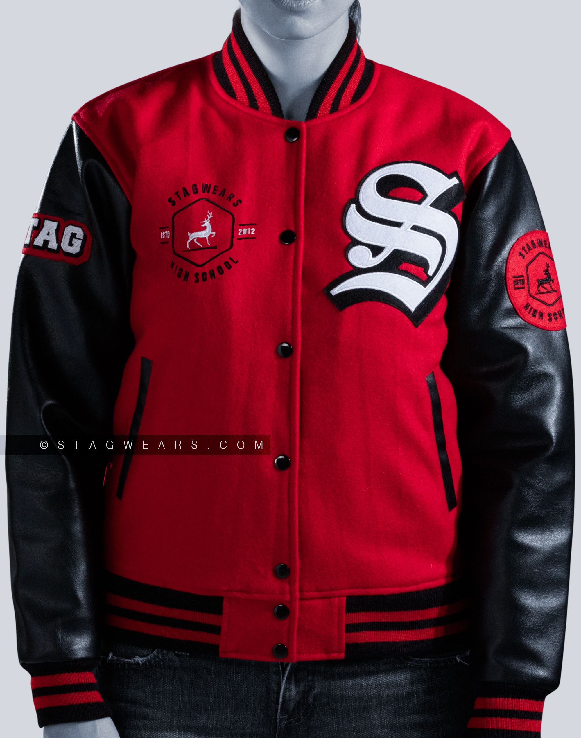 Custom Faux Leather Letterman Jackets Vinyl Sleeves