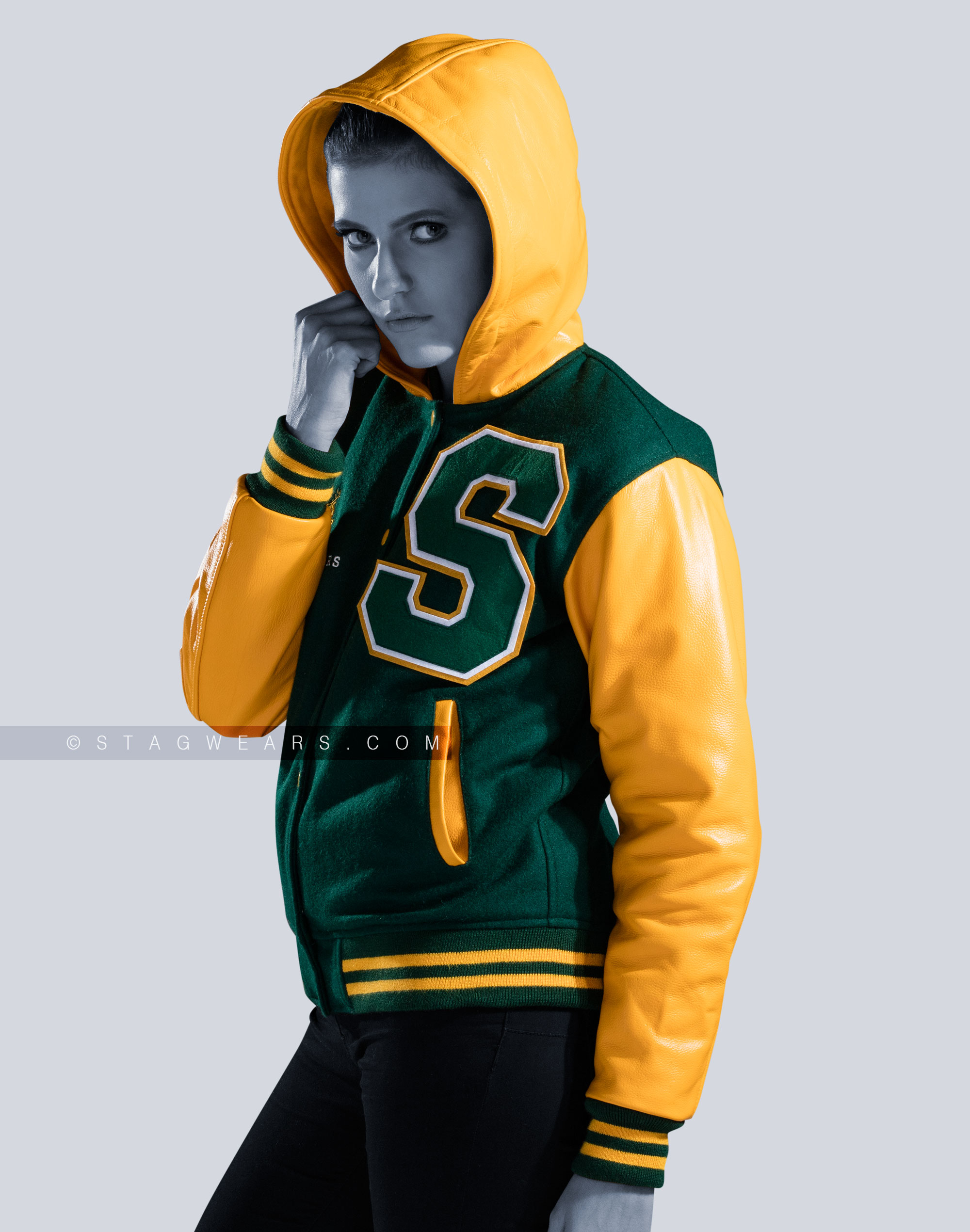 Custom Hooded Letterman Jacket Letterman Jackets For Women