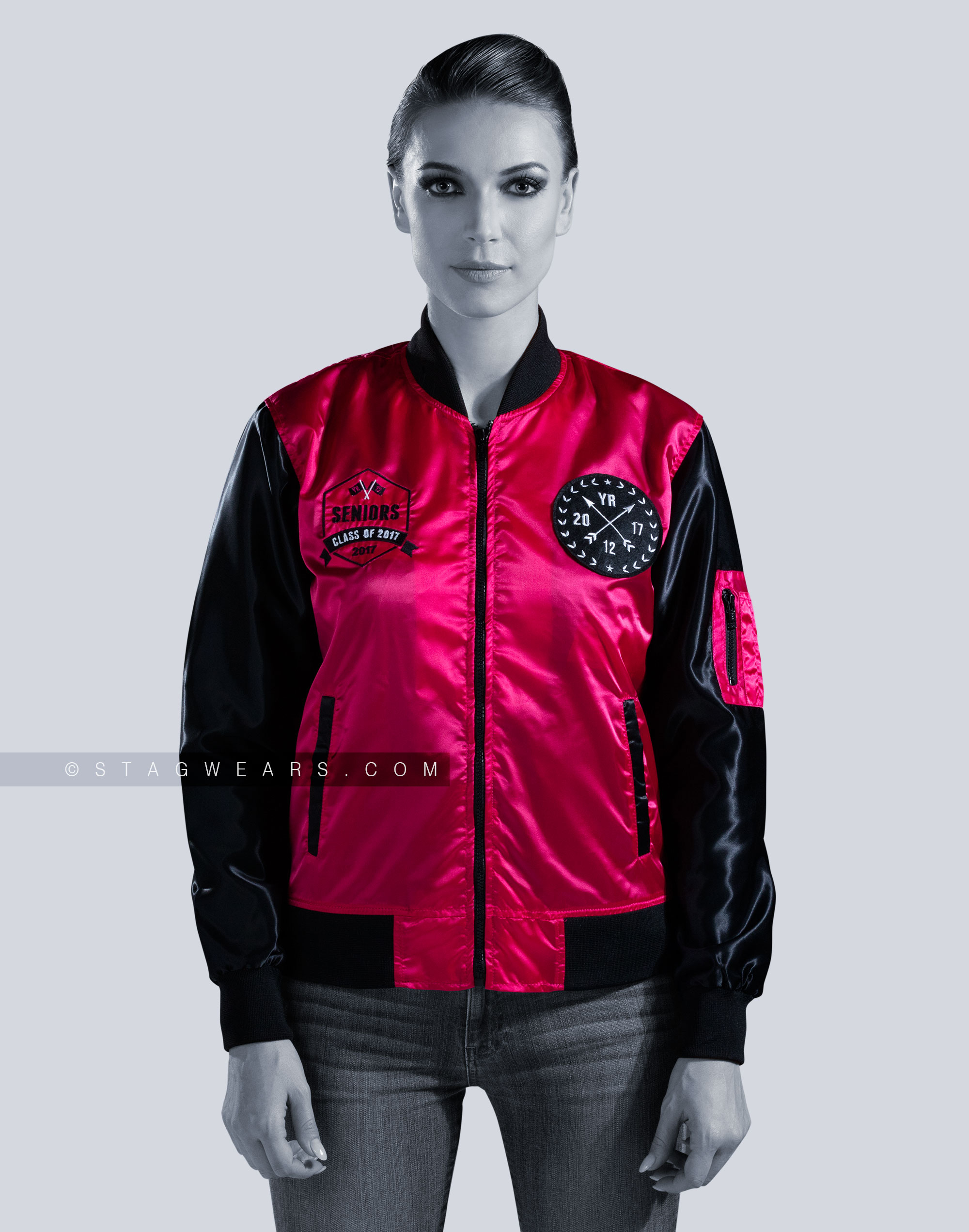huge inventory discover latest trends fashion Custom Satin Bomber Jackets | Women Pink Bomber Jacket