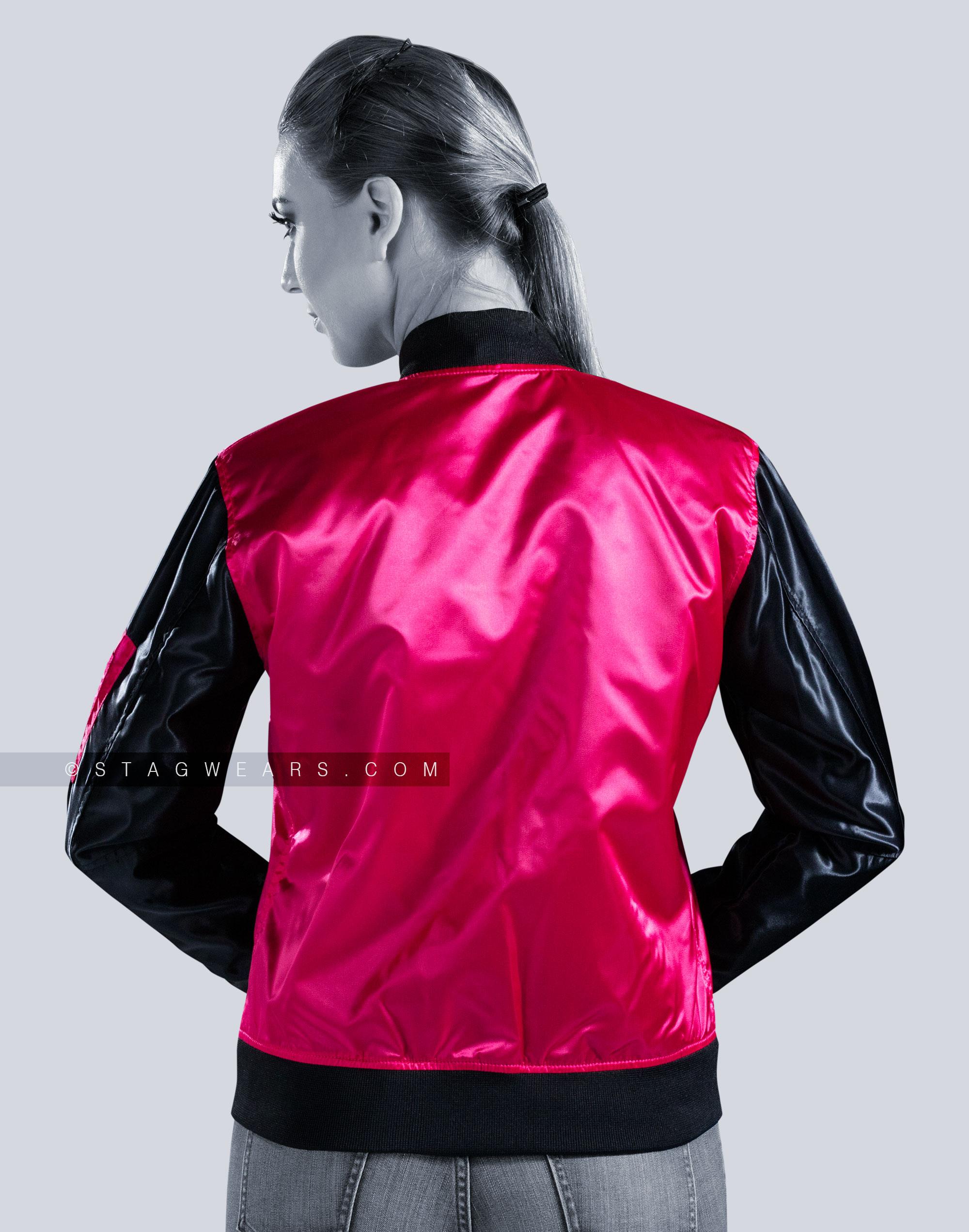 Custom Satin Bomber Jackets | Women Pink Bomber Jacket