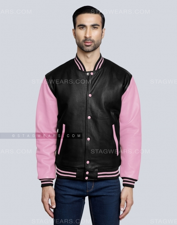 Baby Pink Leather Varsity Jacket Front