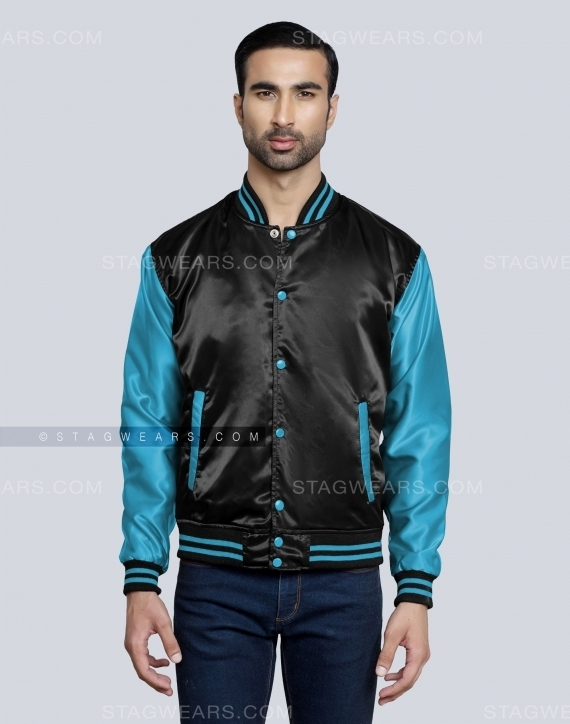 Black Aqua Blue Mens Satin Varsity Jacket Front