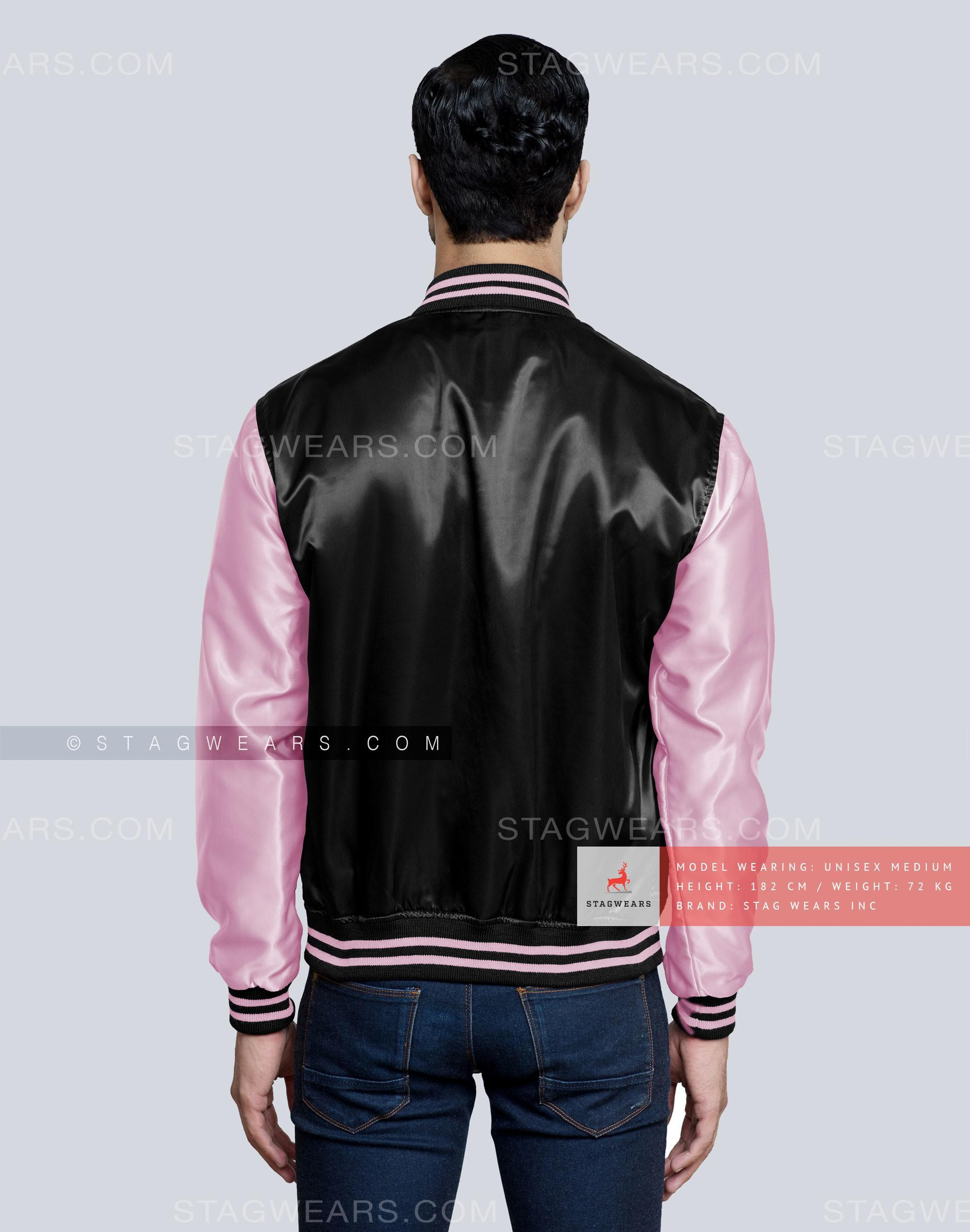Black Baby Pink Satin Varsity Jacket