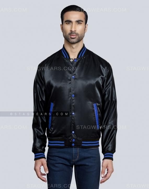Black Royal Baseball Satin Jackets Front