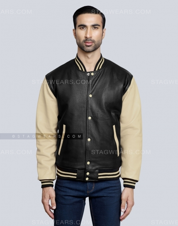 Beige Classic Leather Letterman Jacket Front