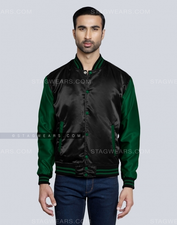 Black Forest Green Satin Varsity Jackets Front
