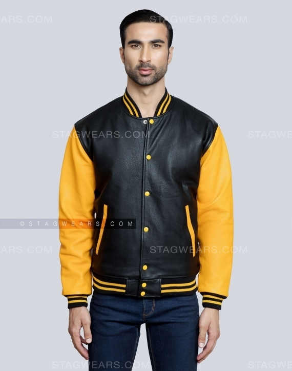 Black Gold Mens Leather Varsity Jacket Front
