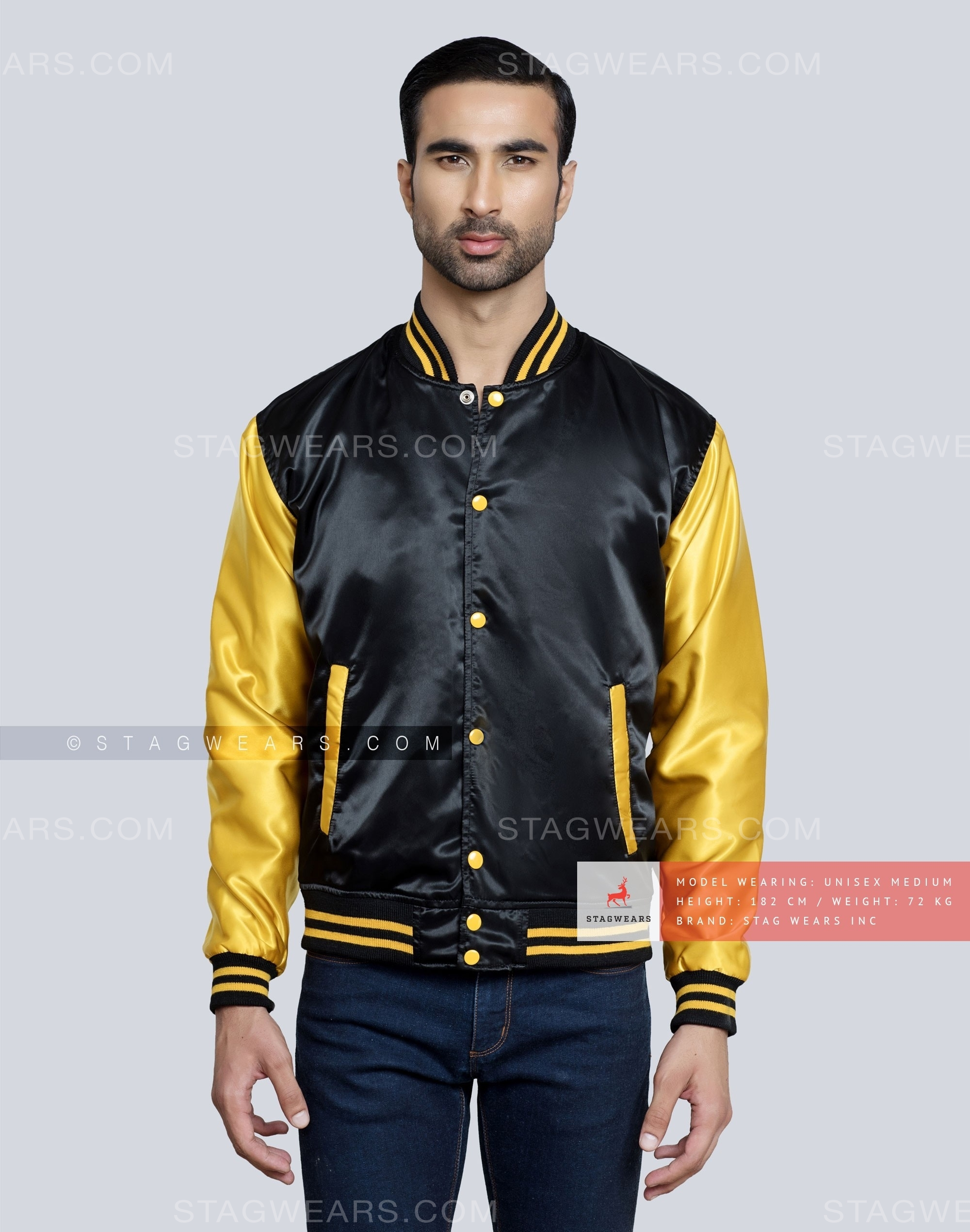 55376324c Women Black Satin Bomber Jacket