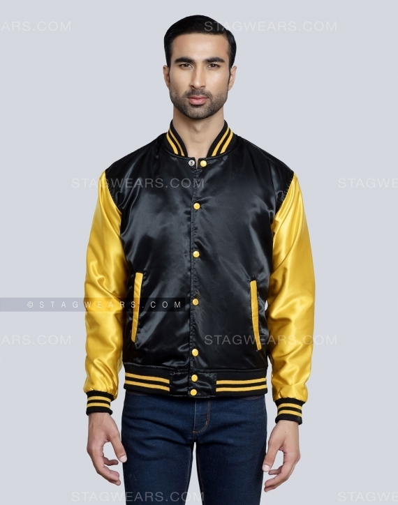 Black Gold Satin Bomber Jacket Front