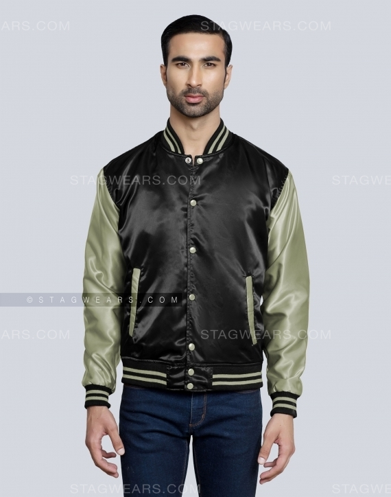 Black Grey Green Satin Bomber Jacket Front