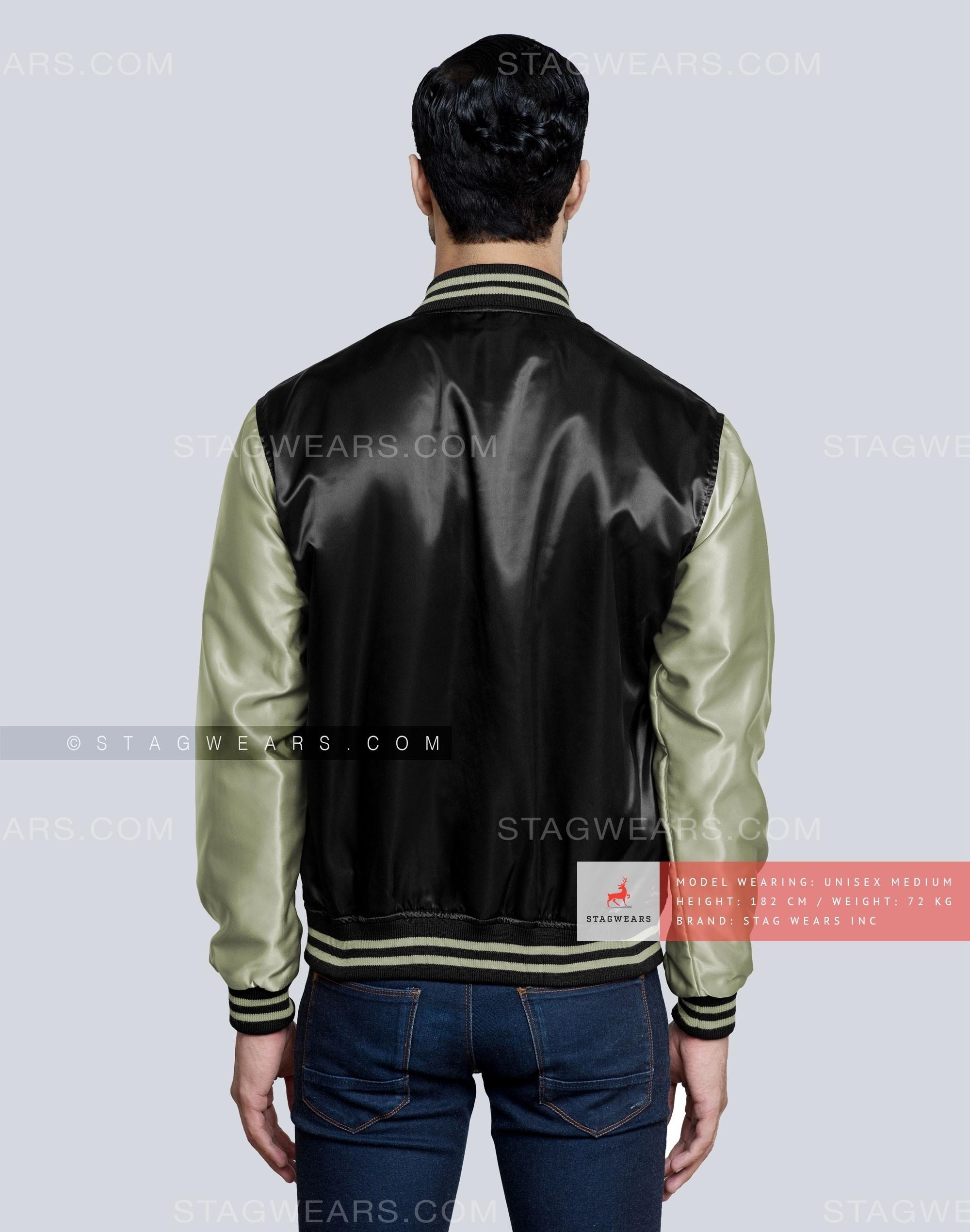 e77022148 Black Grey Green Satin Bomber Jacket
