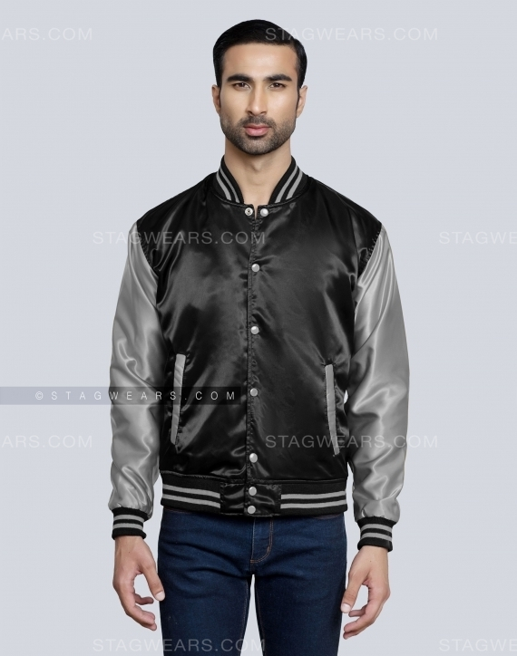 Black Grey Satin Baseball Jackets Front