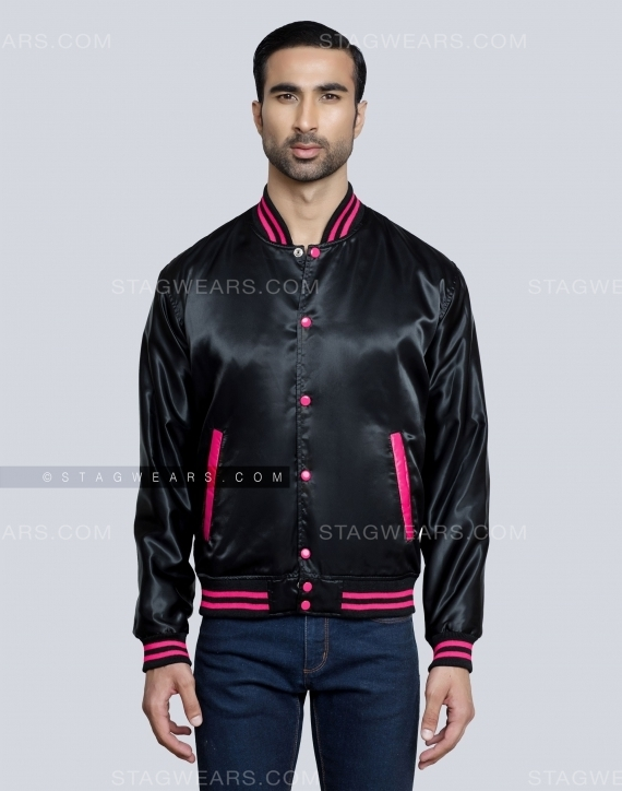 Black Hot Pink Satin Jacket For Women Front