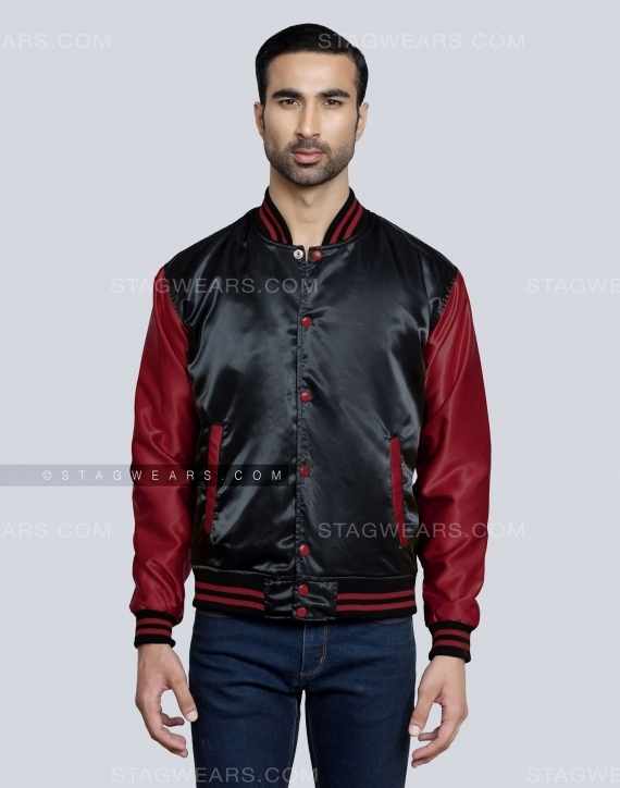 Black Maroon Satin Varsity Jacket For Ladies Front