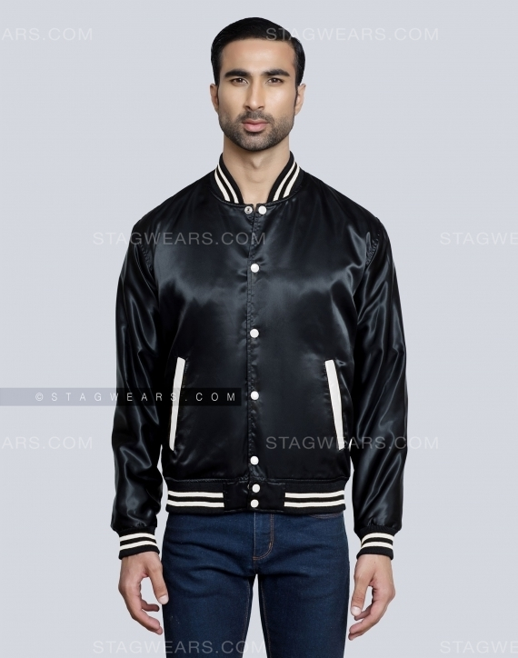 Black Mens Satin Varsity Jacket Front