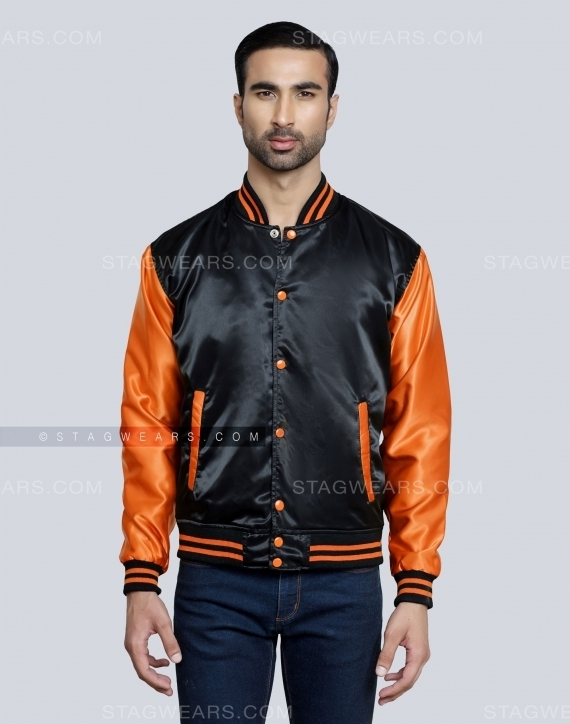 Black Orange Mens Satin Varsity Jacket Front