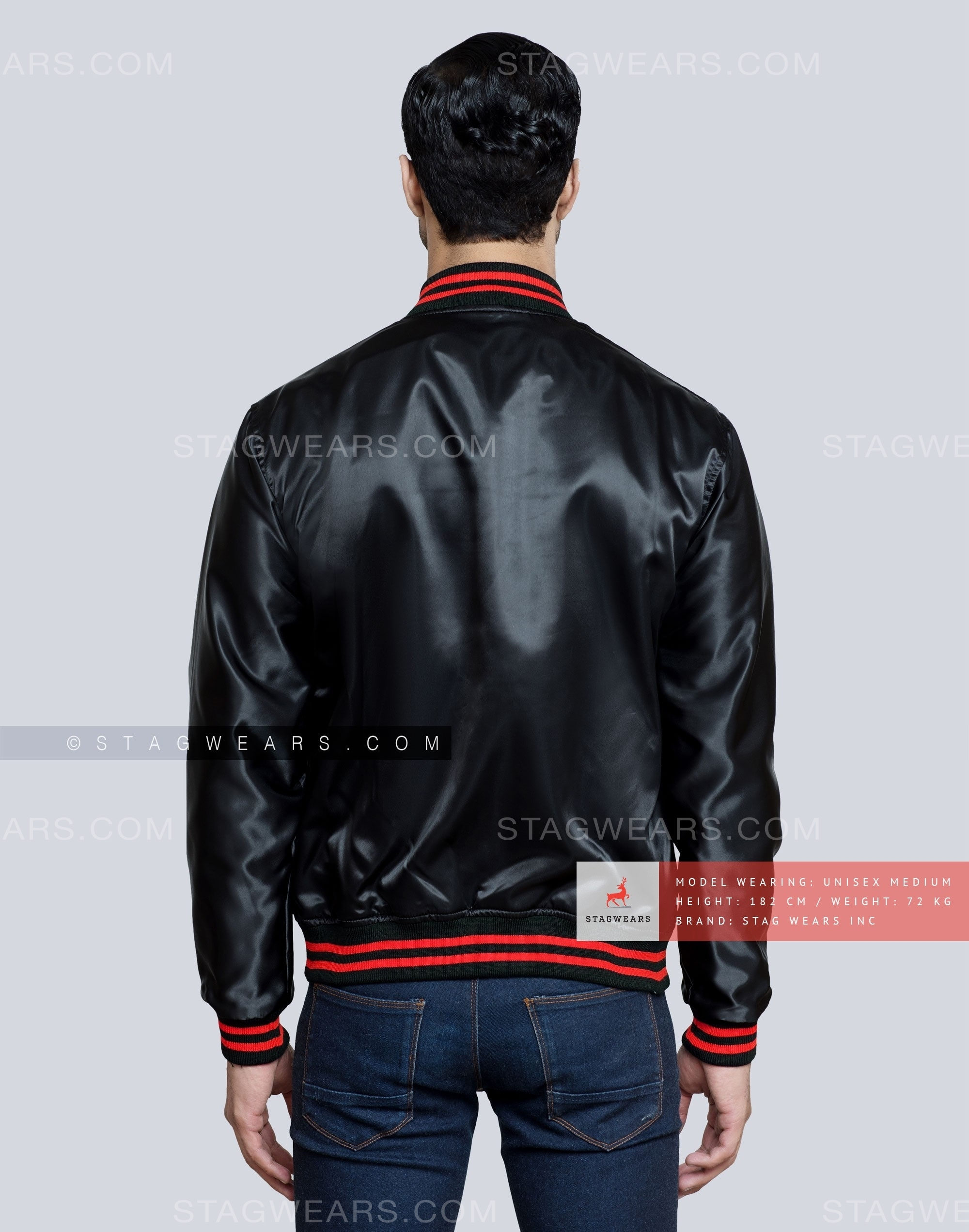 Black Satin Varsity Jacket With Red Accent