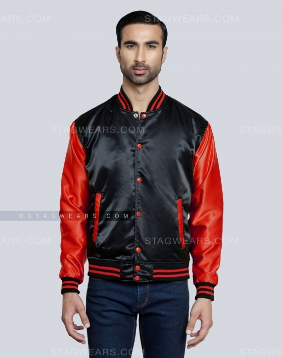 Black Red Satin Varsity Jacket For Ladies Front