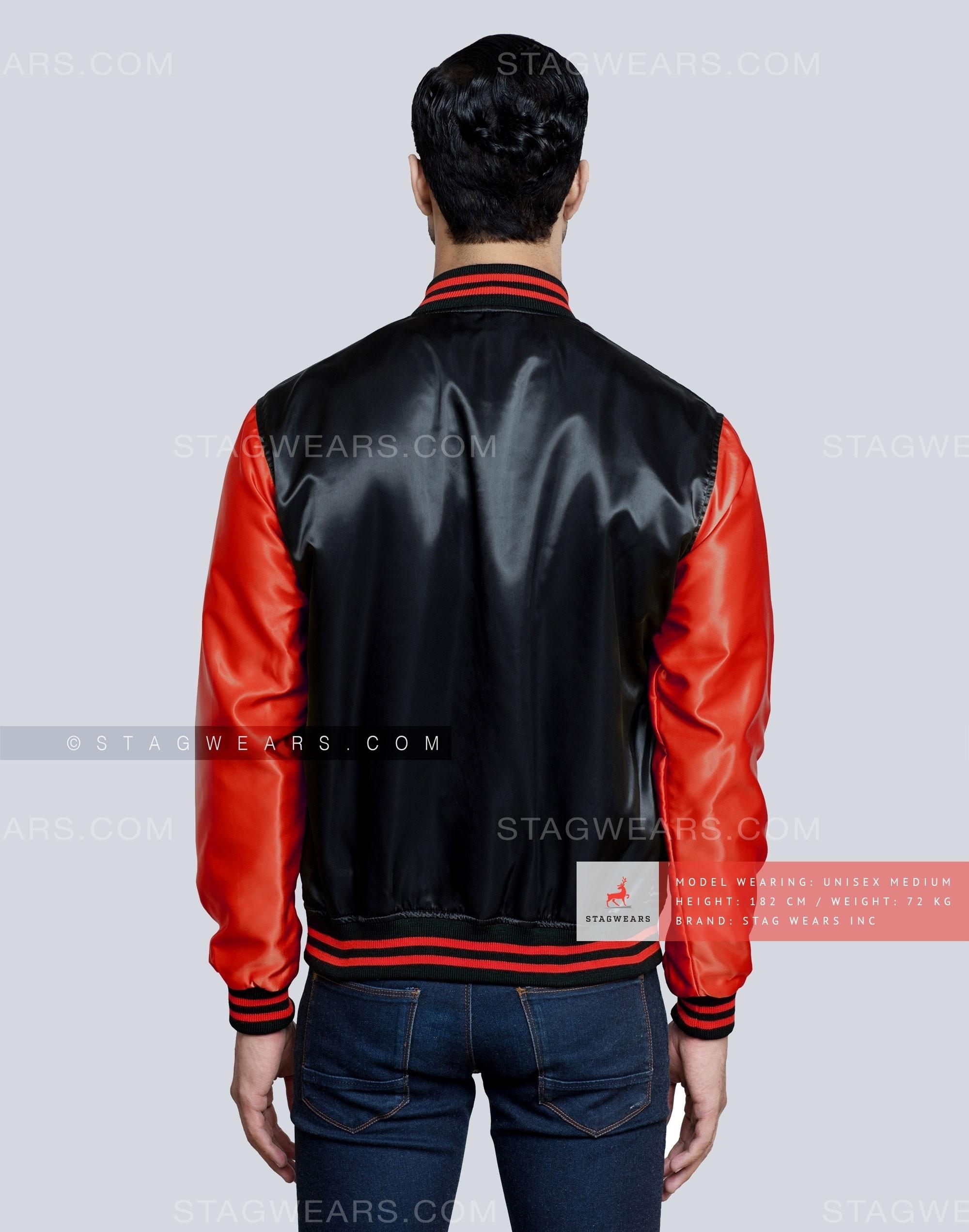 Black Red Satin Varsity Jacket