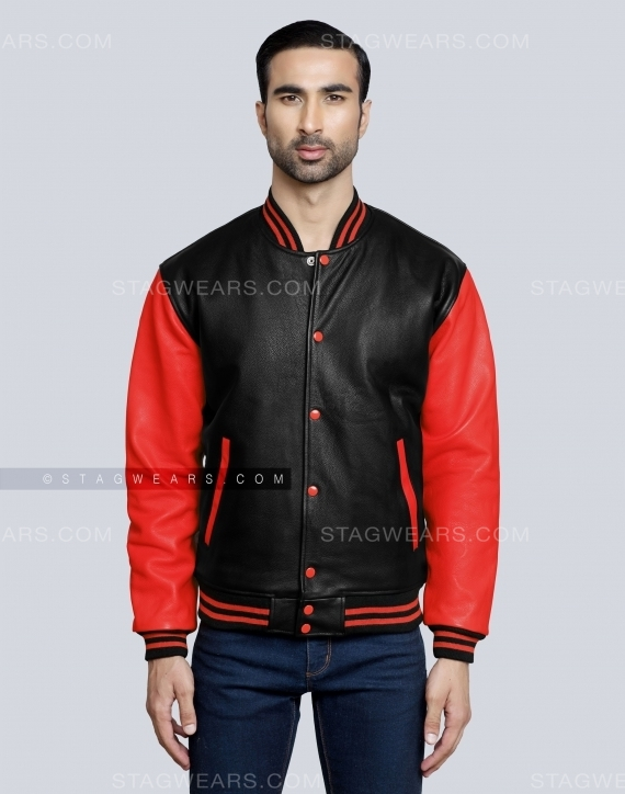 Red All Leather Varsity Jacket Front