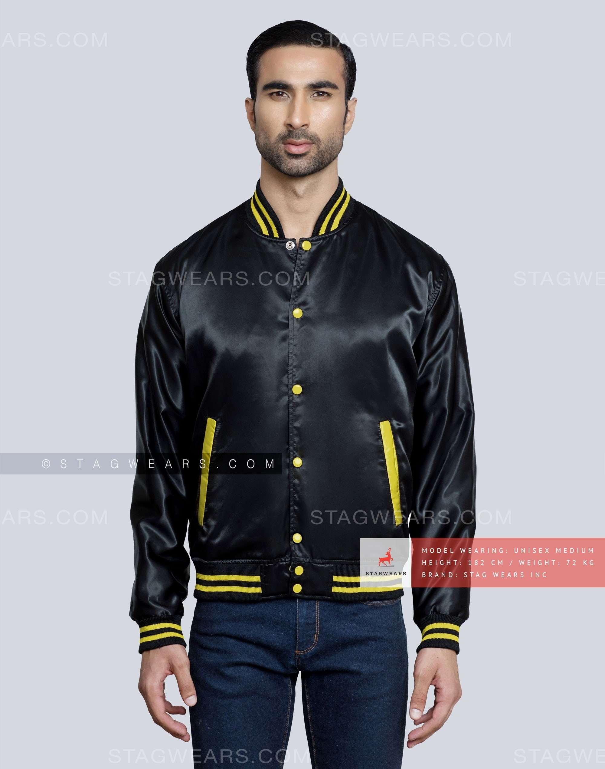 Black Satin Varsity Jacket For Men