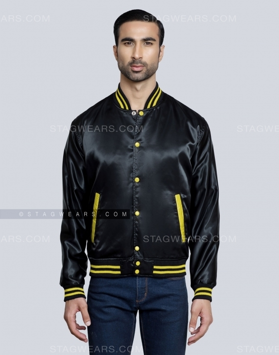 Black Yellow Mens Satin Varsity Jacket Front