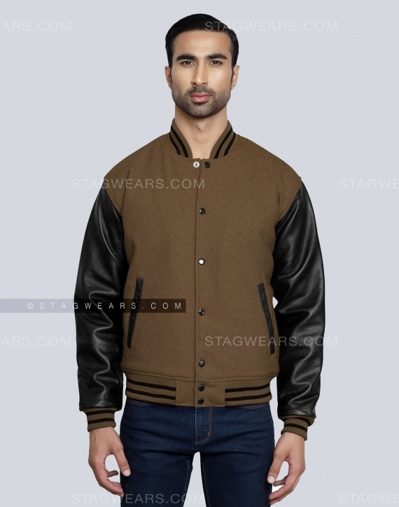 Brown Varsity Letterman Jackets Front