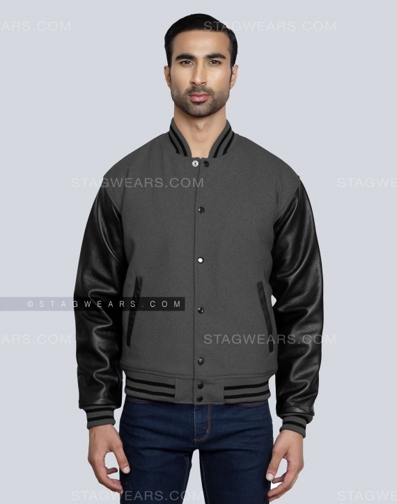 Dark Grey High School Letterman Jacket Front