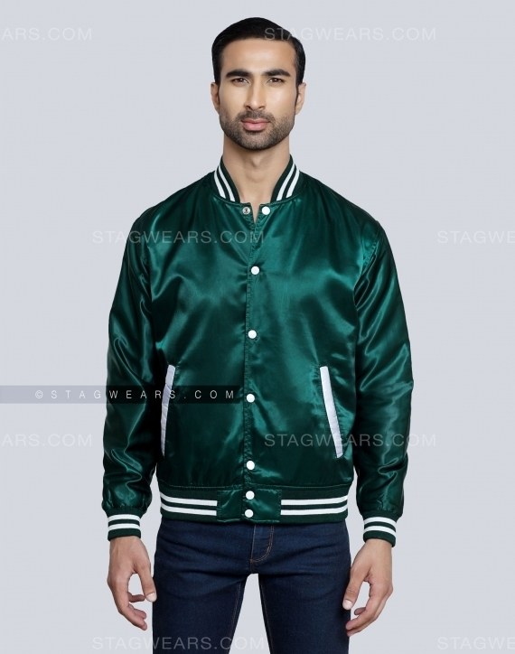 Forest Green Satin Varsity Jacket Front