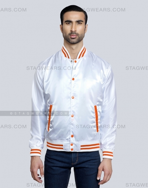 White Orange Baseball Satin Varsity Jacket Front