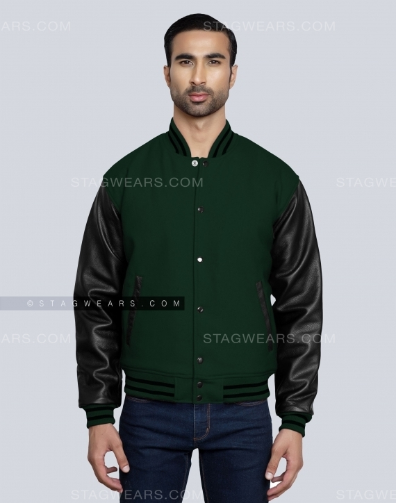 Green Black Seniors Varsity Jacket Front