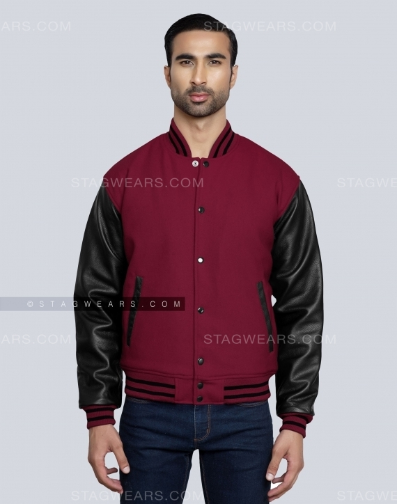 Light Maroon Mens Varsity Jacket Front