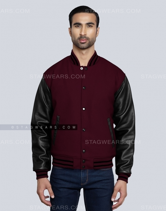 Dark Maroon Jock Jacket Mens Front