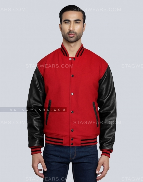 Black Red Letterman Jacket Front
