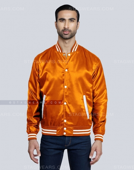 Orange Satin Varsity Jackets Front