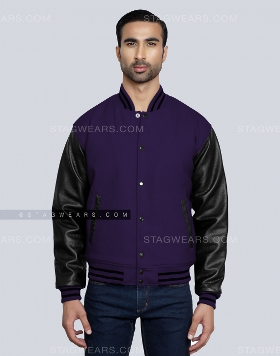 Dark Purple Black Cheap Letterman Jacket Front