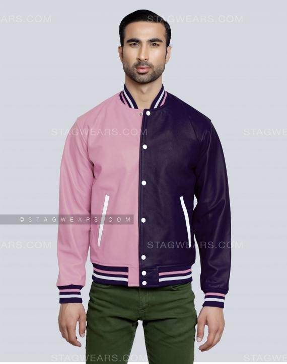 Baby Pink Navy Two Tone All Leather Varsity Jacket Front