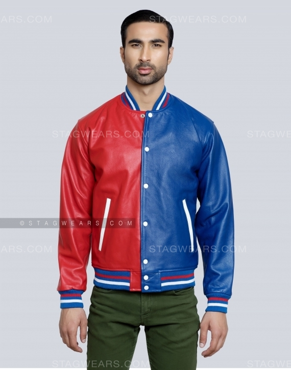 Red Blue Two Tone All Leather Varsity Jacket Front