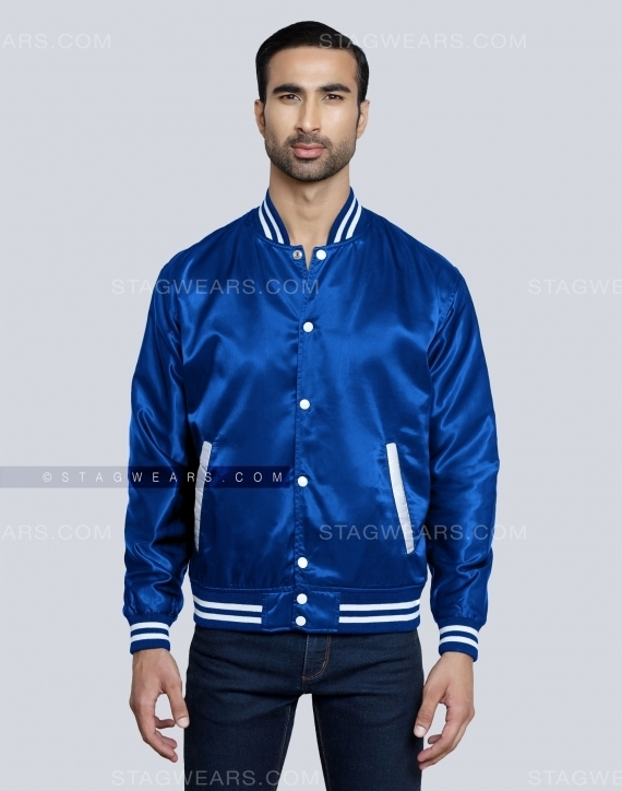 Royal Blue Satin Varsity Jackets Front
