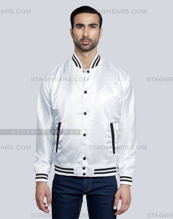 White Black Mens Satin Varsity Jacket Front