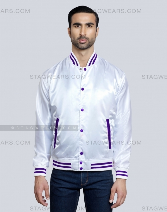 White Purple Women Satin Varsity Jacket Front