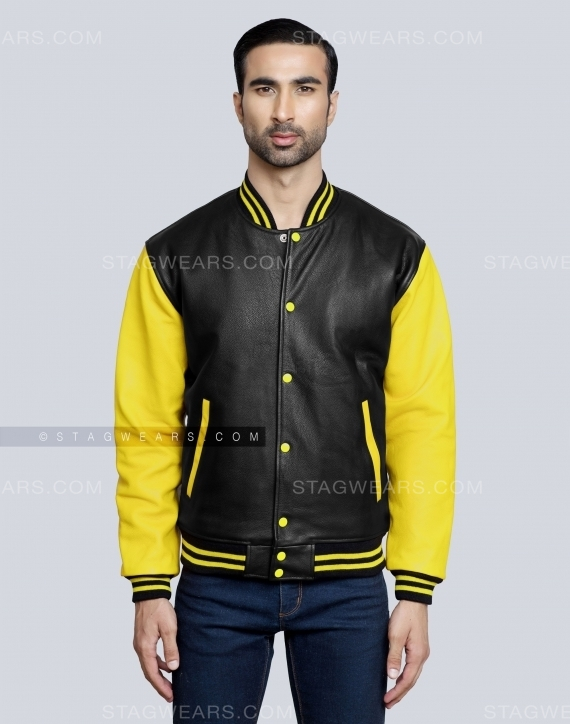 Black Yellow All Leather Varsity Jacket Front